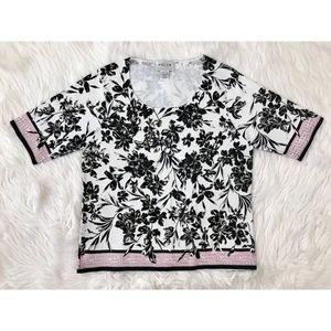 OSCAR DE LA RENTA Floral Short Sleeve Knit Top